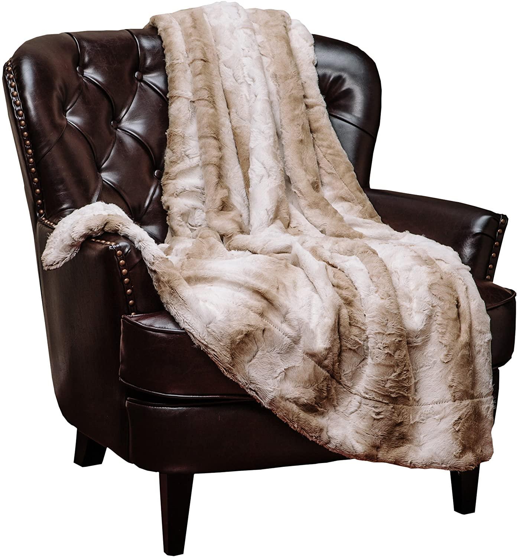 Chanasya Fuzzy Faux Fur Elegant Throw Blanket - Stem Pattern