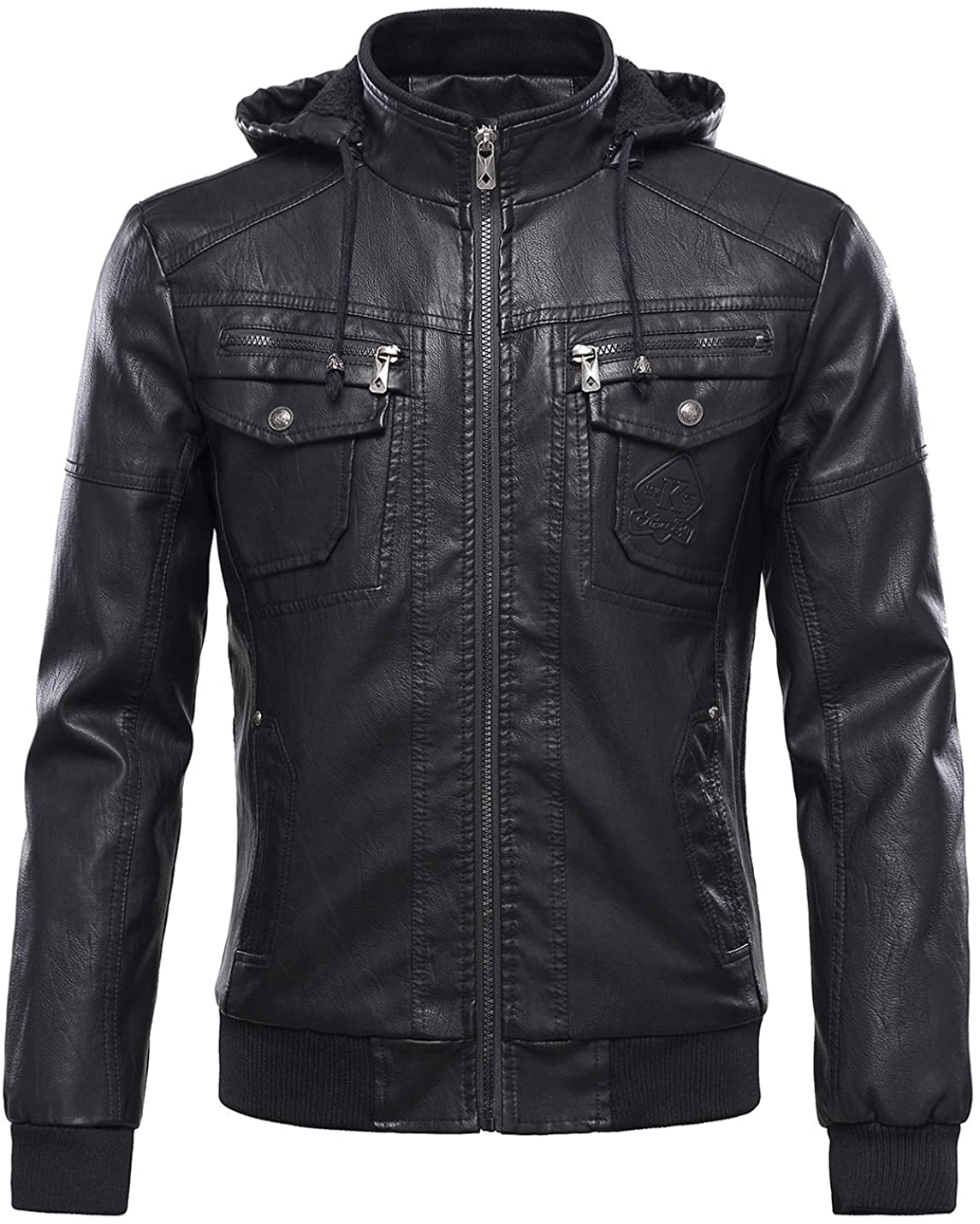 Tanming Men's Fleece Lined Motorcycle PU Faux Leather Jacket