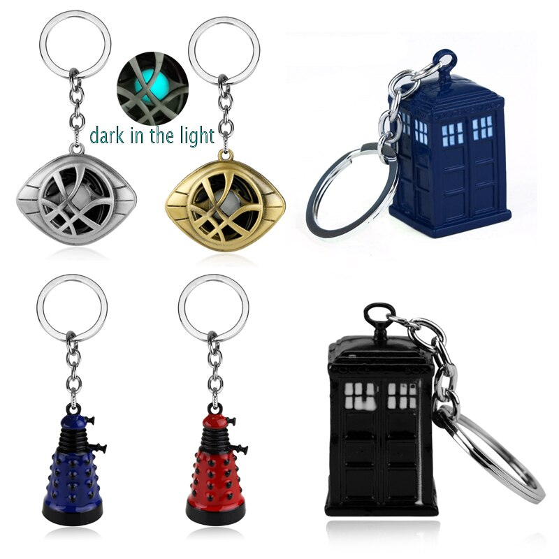 photo of Doctor Who Keychain Strange Eye of Agamotto Key Chain TARDIS Key Rings For Gift Chaveiro Car Key Ring Jewelry Movie Trinket