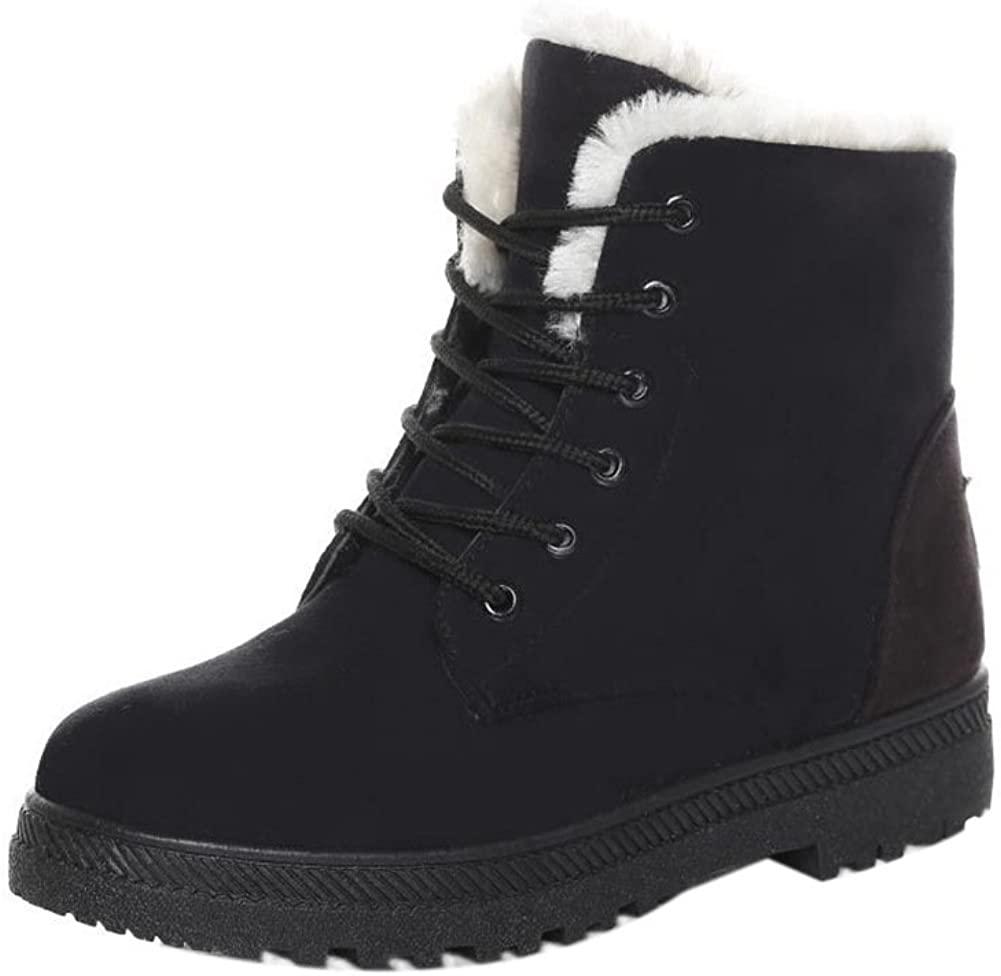 SHIBEVER Winter Boots for Women Platform Cotton Warm Fur Sno
