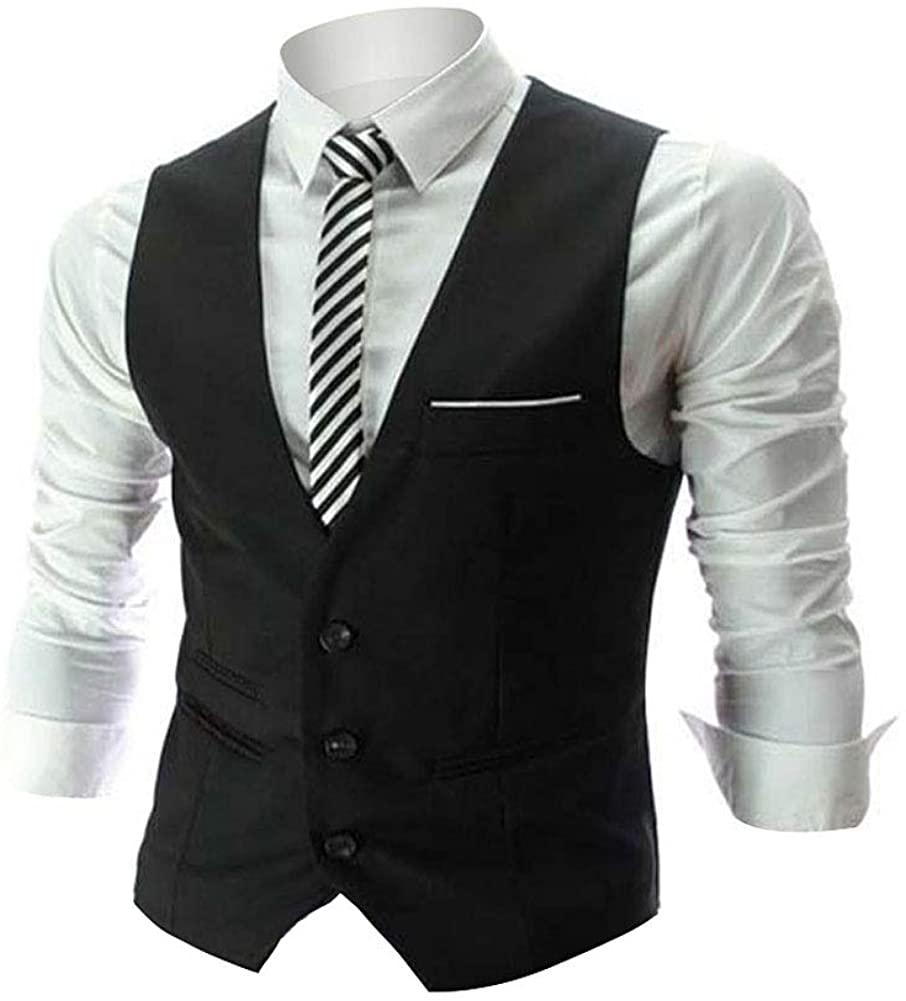 Zicac Men's Top Designed Casual Slim Fit Skinny Dress Vest W