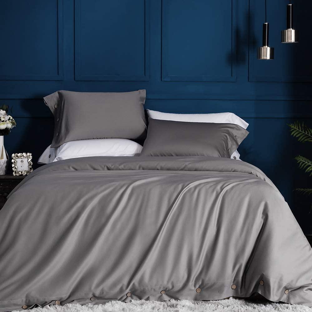 JELLYMONI Grey 100% Egyptian Cotton Duvet Cover Set, Luxury