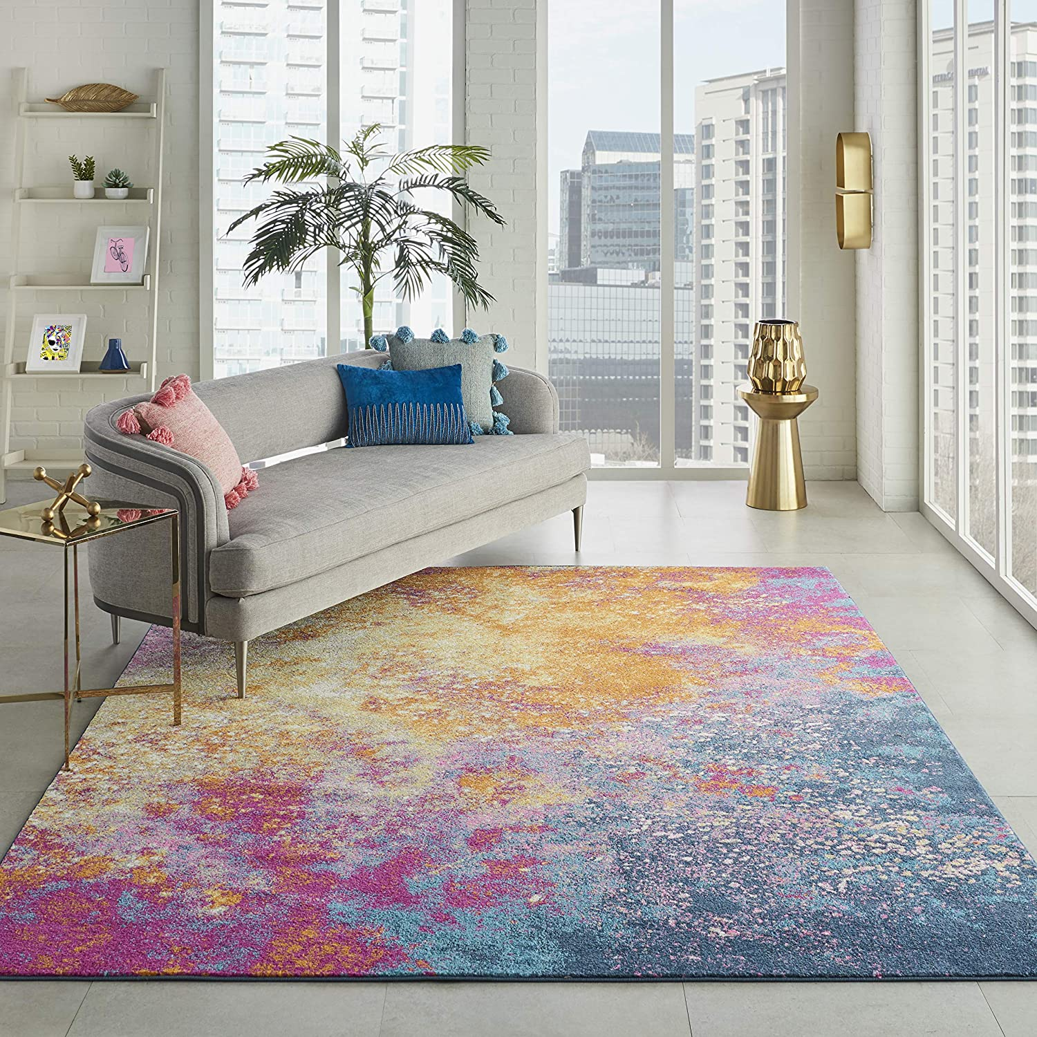 Nourison Passion Modern Abstract Colorful Sunburst Area Rug,