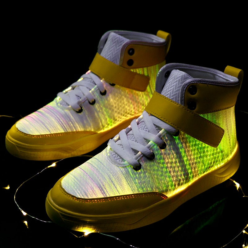UncleJerry 2020 New Fiber Optic Shoes big boys girls and adult USB Rechargeable Glowing Sneakers Party Shoes Cool Street Shoes-3