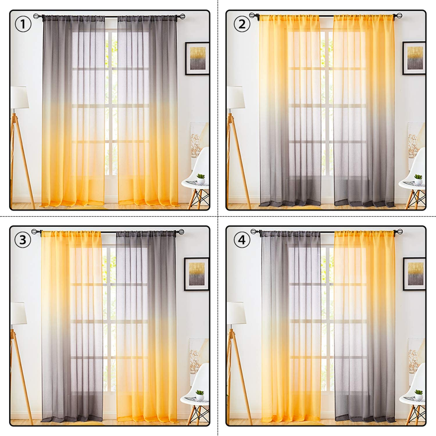Faux Linen Ombre Sheer Curtains Yellow and Grey 2 Tone ...