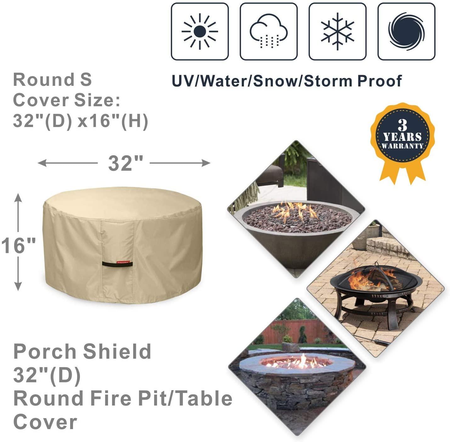 Porch Shield Fire Pit Cover - Waterproof 600D Heavy Duty ...