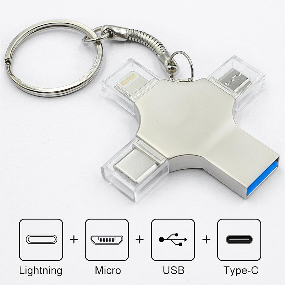 photo of Bru Pen Drive Type c Otg Usb Flash Drive 3.0 For Iphone ipad Android 16gb 32gb 64gb 128gb 256gb Pendrive 4in1
