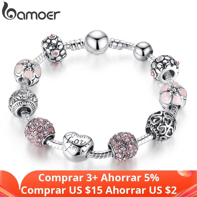 photo of BAMOER Silver Plated Charm Bracelet & Bangle with Love and Flower Beads Women Wedding Jewelry 4 Colors 18CM 20CM 21CM PA1455