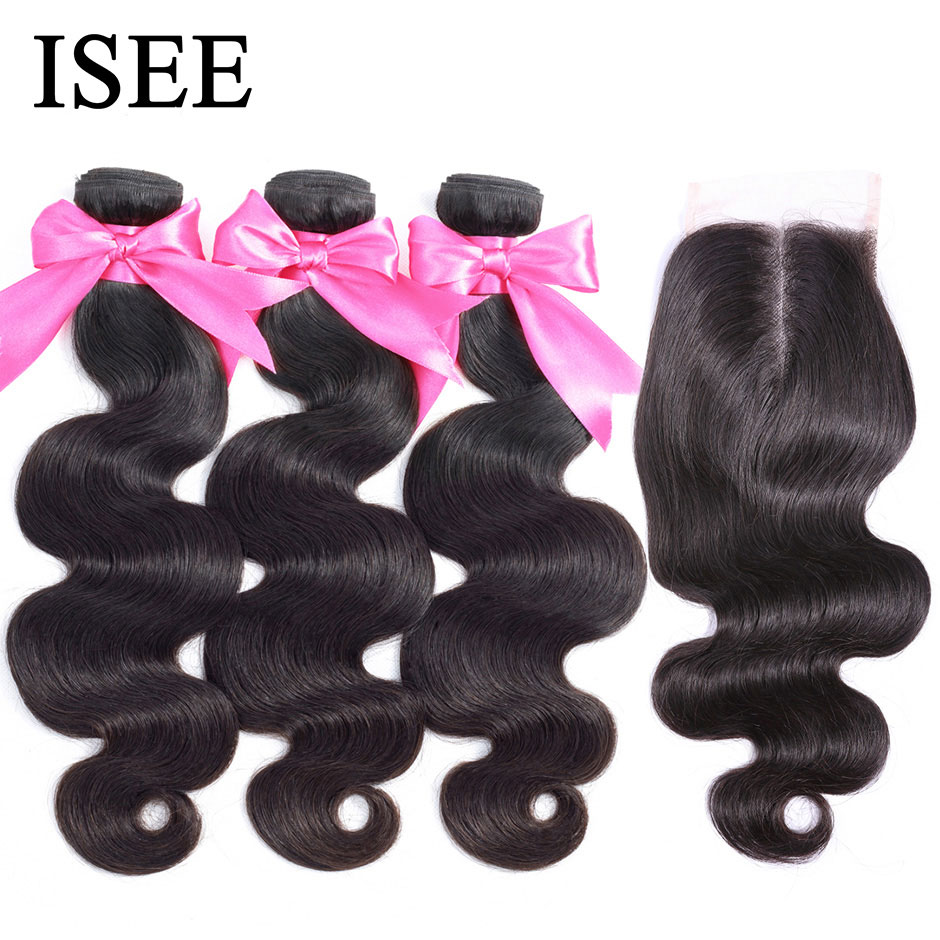 photo of Body Wave Human Hair Bundles With Closure ISEE HAIR Bundles With Frontal Brazilian Body Wave Hair Weave Bundles With Closure