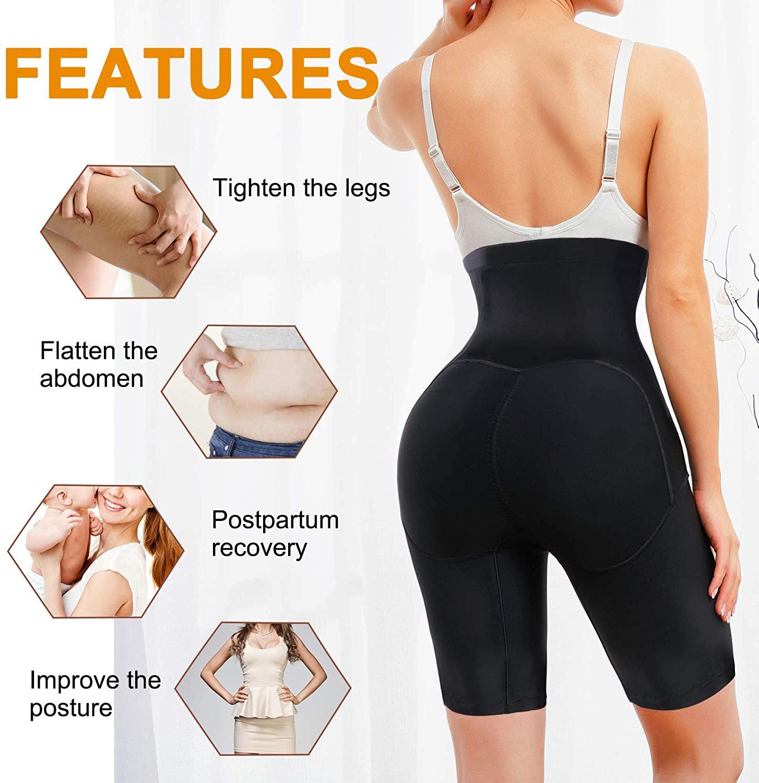REYEOGO High Waisted Body Shaper Shorts Butt Lifter Shapewear for Women Tummy Control Panties Thigh Slimmer