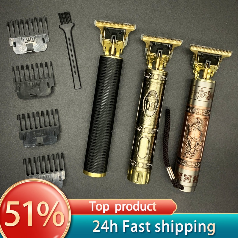 photo of T Hair Clipper Electric hair trimmer Cordless Shaver Trimmer 0mm Men Barber Hair Cutting Machine chargeable timer beard cutter 5