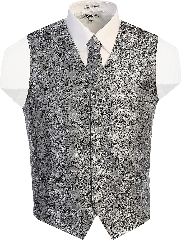 thumbnail 13 - Gioberti Men's Formal 4pc Paisley Vest Necktie Bowtie and Pocket Square