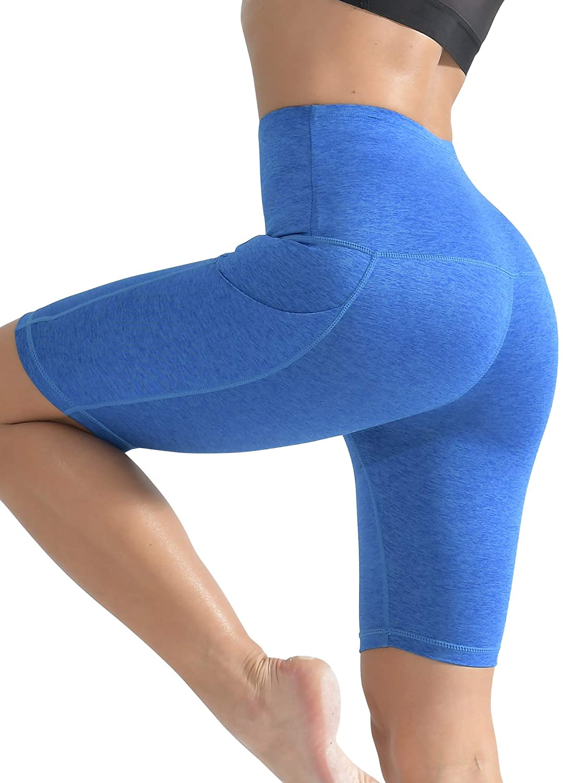Cadmus Womens High Waist Workout Yoga Shorts Two Side Pocket