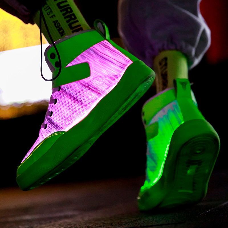UncleJerry 2020 New Fiber Optic Shoes big boys girls and adult USB Rechargeable Glowing Sneakers Party Shoes Cool Street Shoes-1