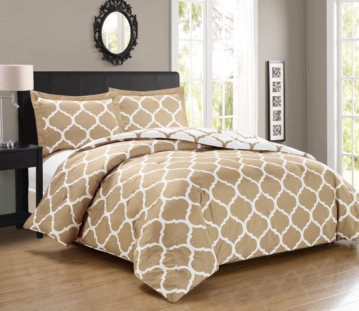 Grand Linen 3 Piece Luxury Khaki/Taupe/White Reversible Quat