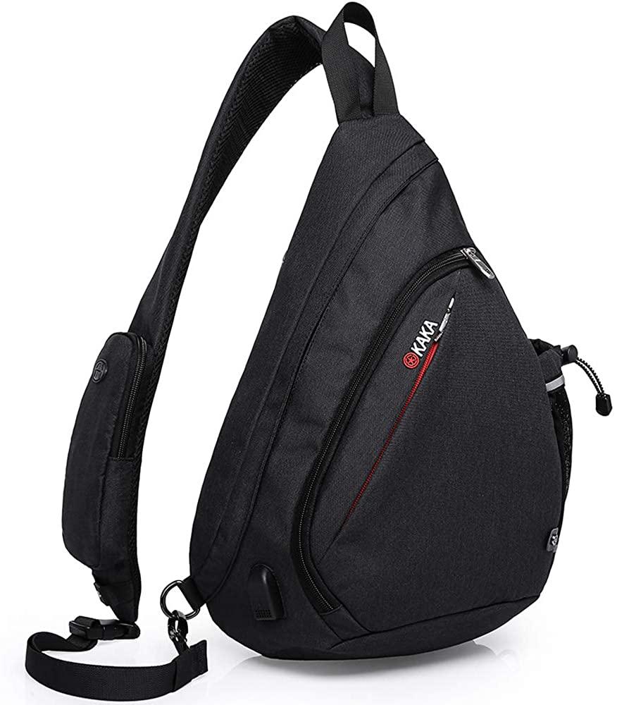 KAKA Sling Bag, Crossbody Backpack Canvas Waterproof Daypack