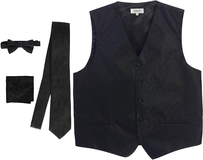 thumbnail 2 - Gioberti Men's Formal 4pc Paisley Vest Necktie Bowtie and Pocket Square