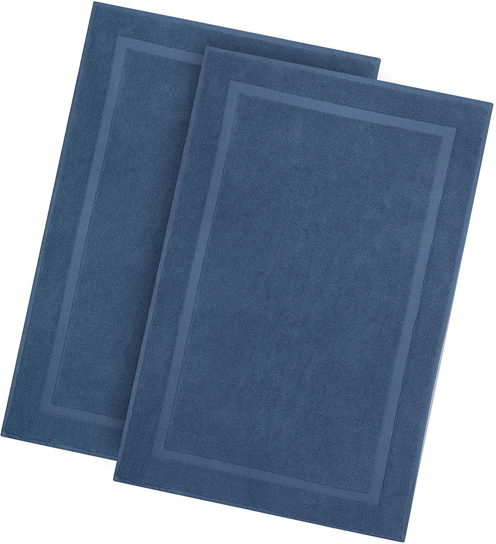Cotton Craft -2 Pack Luxury Bath Mat - Azure Blue - 100% Rin