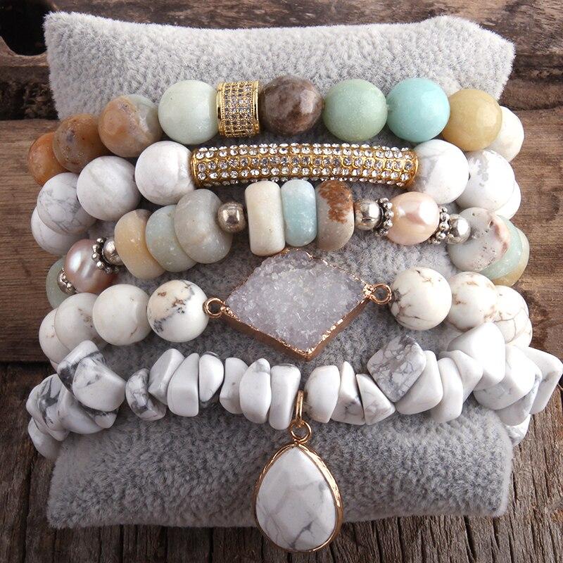 RH Fashion New Designer Boho Bracelet Set Natural Stone  5pc Beaded Bracelets Sets For Women Jewelry Gift Drop Shipping-1