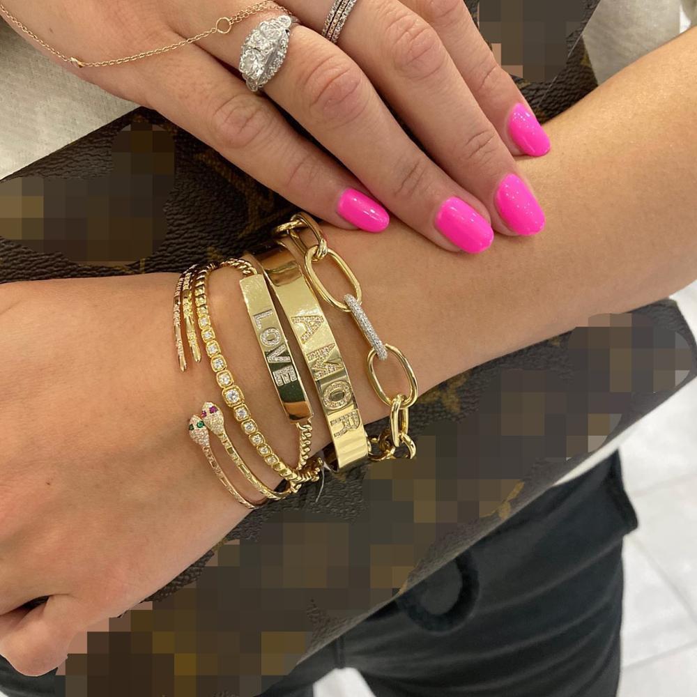 open adjusted fashion cz bangle bracelet for women girl red  green blue eye snake shaped cuff bangles-5