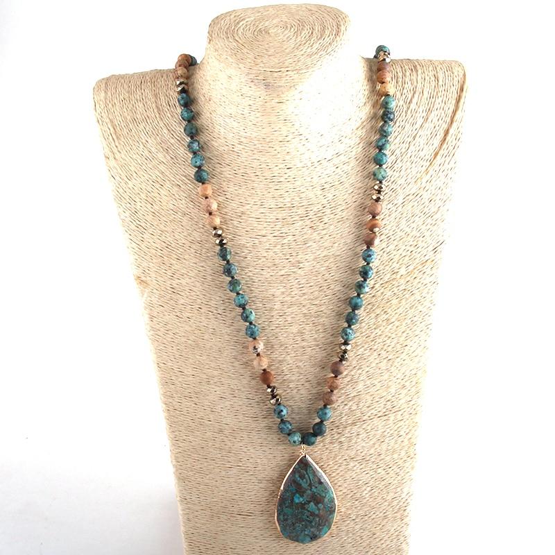 RH Fashion Boho Jewelry Natural Stones With Semi Precious Pendant Necklaces Women Bohemia Necklace Gift Dropship-4