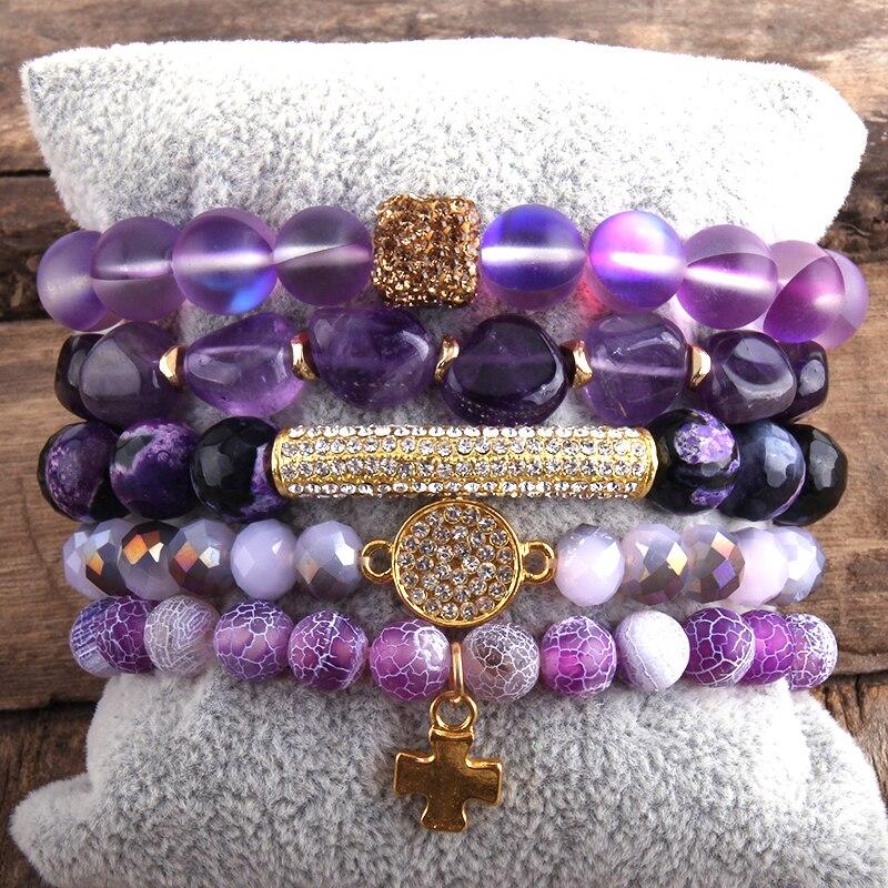 RH Fashion New Designer Boho Bracelet Set Natural Stone  5pc Beaded Bracelets Sets For Women Jewelry Gift Drop Shipping-4