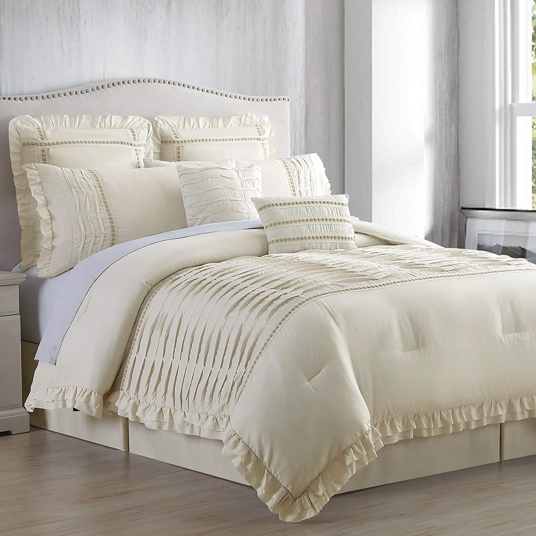 Amrapur Overseas Antonella 8-Piece Pleated Comforter Set, Ca