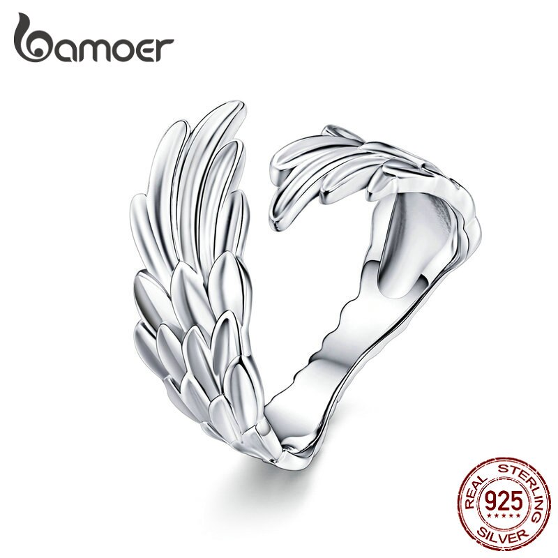 photo of BAMOER Guardian Wings Ring Authentic 925 Sterling Silver Free Size Adjustable Finger Rings for Women Fashion Jewelry SCR512