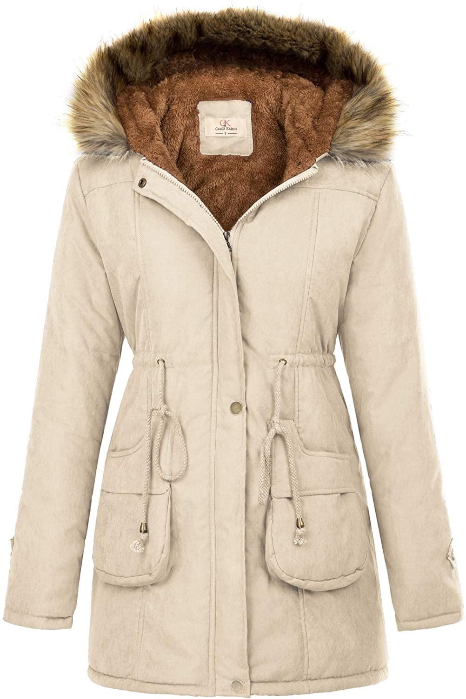 GRACE KARIN Womens Hooded Warm Winter Thicken Fleece Lined P