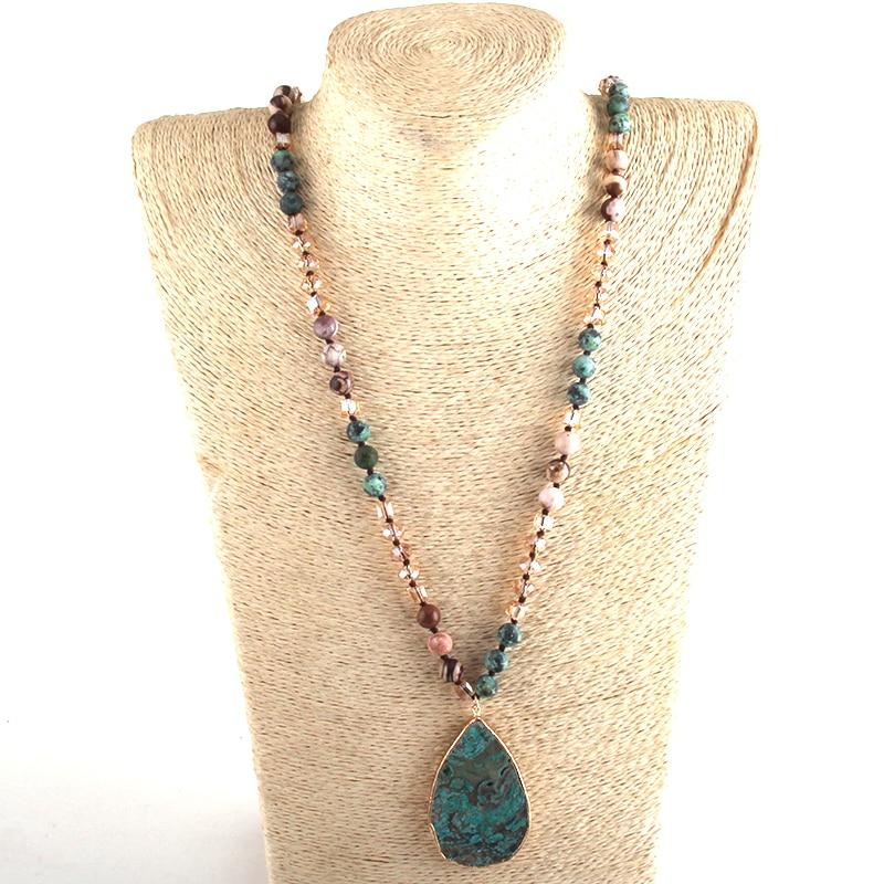 RH Fashion Boho Jewelry Natural Stones With Semi Precious Pendant Necklaces Women Bohemia Necklace Gift Dropship-5