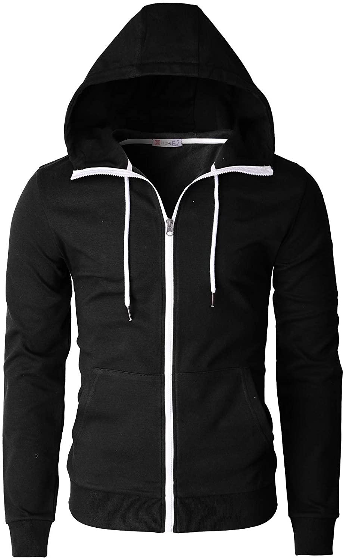 H2H Mens Casual Zip up Hoodie Jacket Double Cotton Lightweig