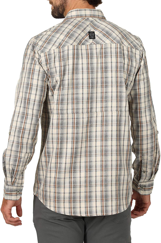ATG by Wrangler Mens Long Sleeve Heathered Plaid Utility Shirt