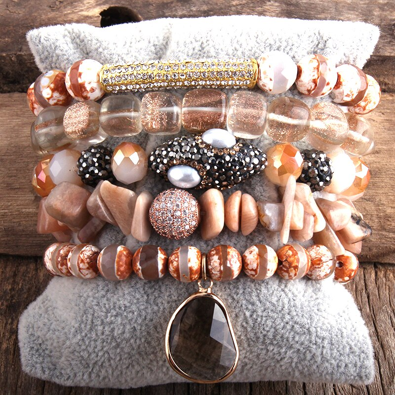 RH Fashion New Designer Boho Bracelet Set Natural Stone  5pc Beaded Bracelets Sets For Women Jewelry Gift Drop Shipping-5