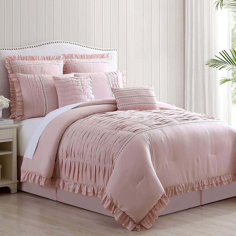 Amrapur Overseas Antonella 8-Piece Pleated Comforter Set, Qu