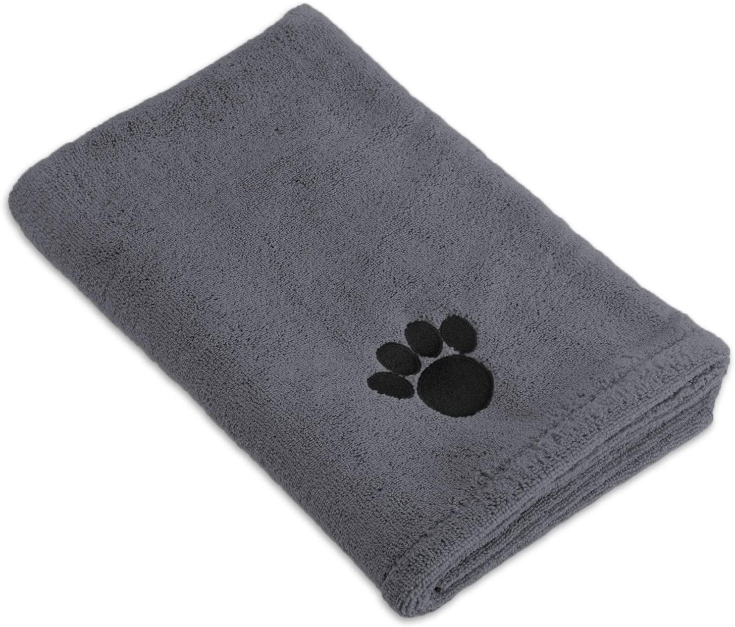 Bone Dry DII Microfiber Dog Bath Towel with Embroidered Paw