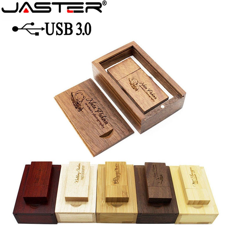 photo of JASTER USB 3.0 Wooden usb+wood BOX usb flash drive pendrive 4GB 8GB 16GB 32GB 64GB wedding Photography gift free custom logo