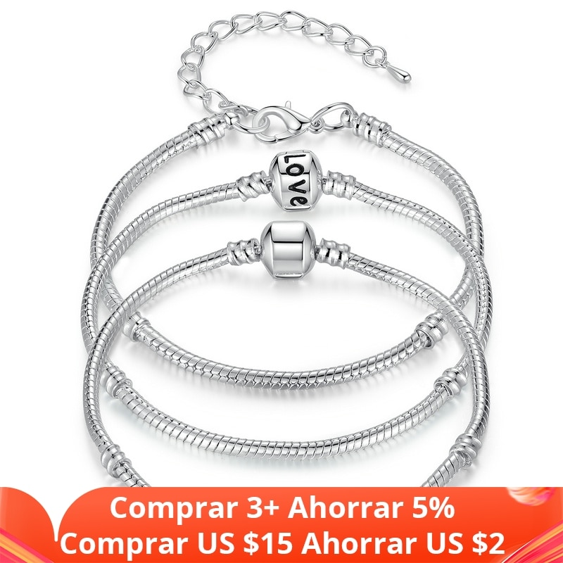 photo of BAMOER 5 Style Silver Color LOVE Snake Chain Bracelet & Bangle 16CM-21CM Pulseras Lobster PA1104