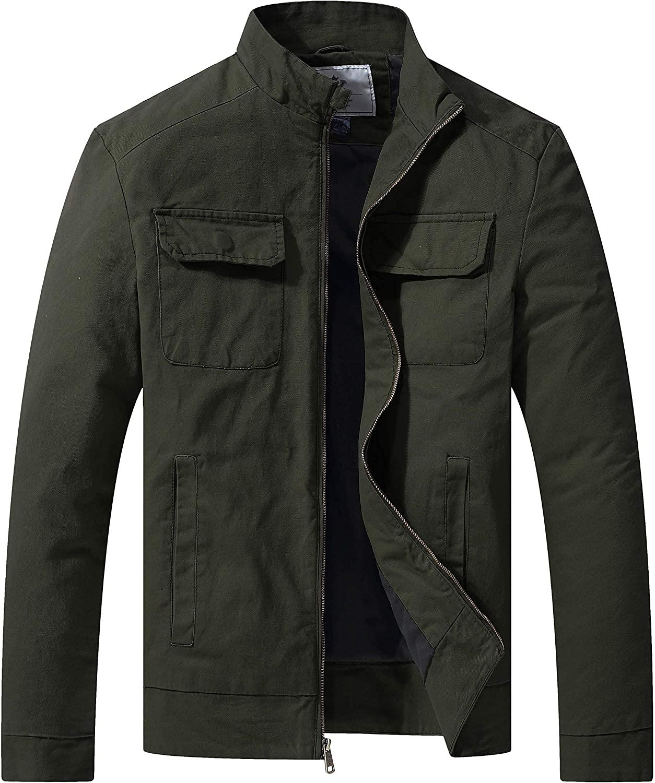 WenVen Men's Cotton Canvas Lightweight Casual Military Jacke