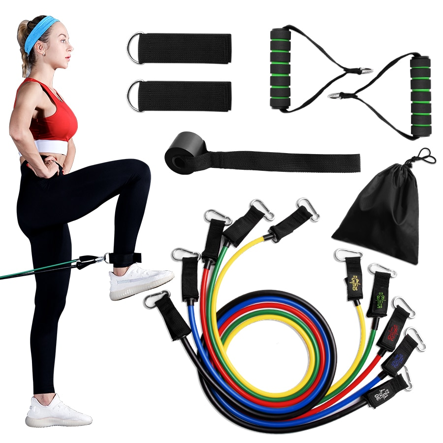 11PCS Crossfit Resistance Bands Tube Set Stretch Training Rubber Expander Tubes Pilates Fitness Gum Elastic Pull Rope Equipment-5