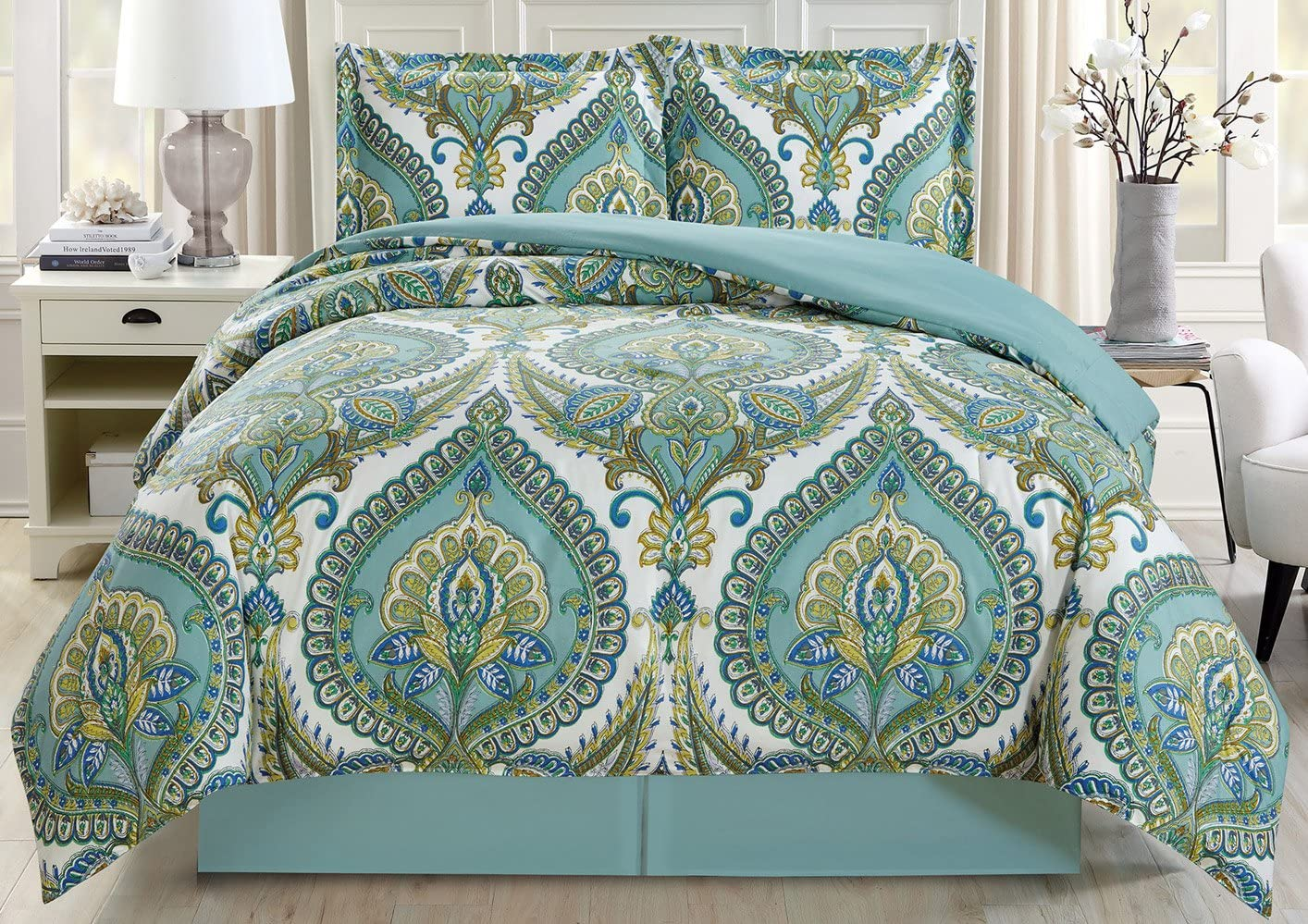 4-Piece Fine Printed Oversize Comforter Set Reversible Goose