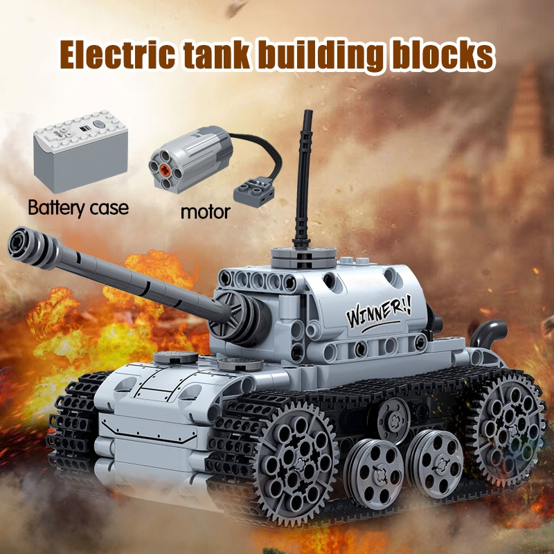City Military Electric Motor Tank Building Blocks Technic Tank Track Army Soldier Figure Bricks Education Toys For Boys-1