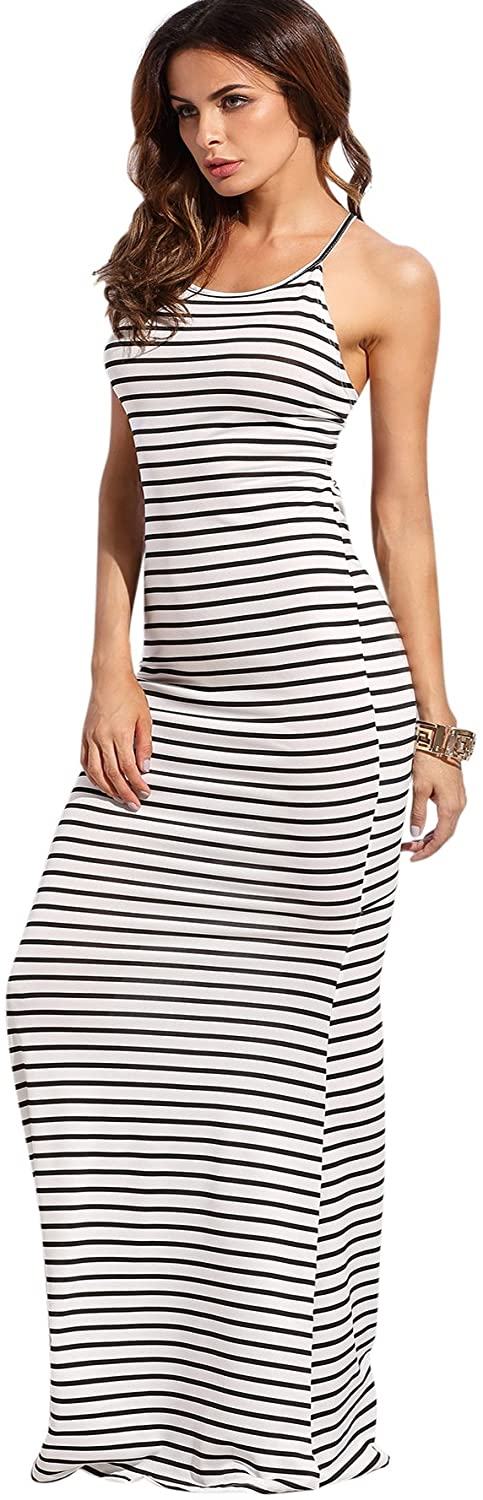 SheIn Women's Strappy Backless Summer Evening Party Maxi ...