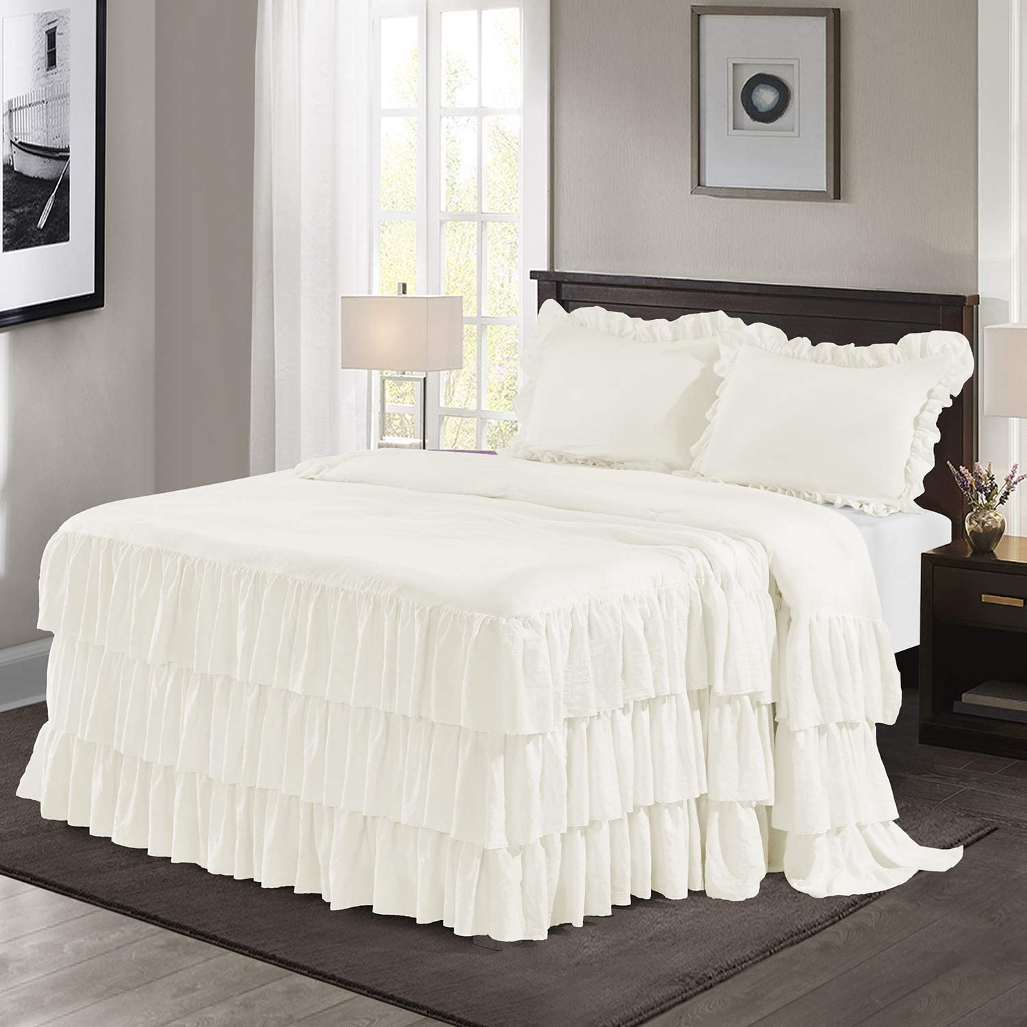 HIG 3 Piece Ruffle Skirt Bedspread Set Queen-Ivory Color 30
