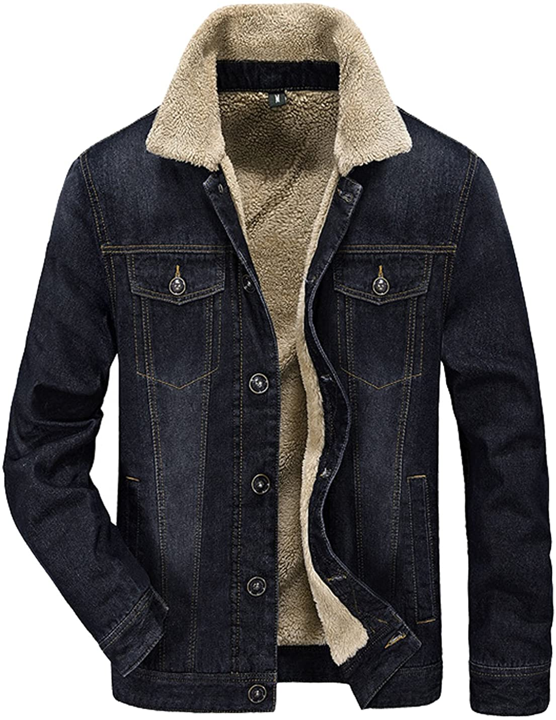 Tanming Men's Winter Warm Fur Lapel Collar Sherpa Fleece Lin