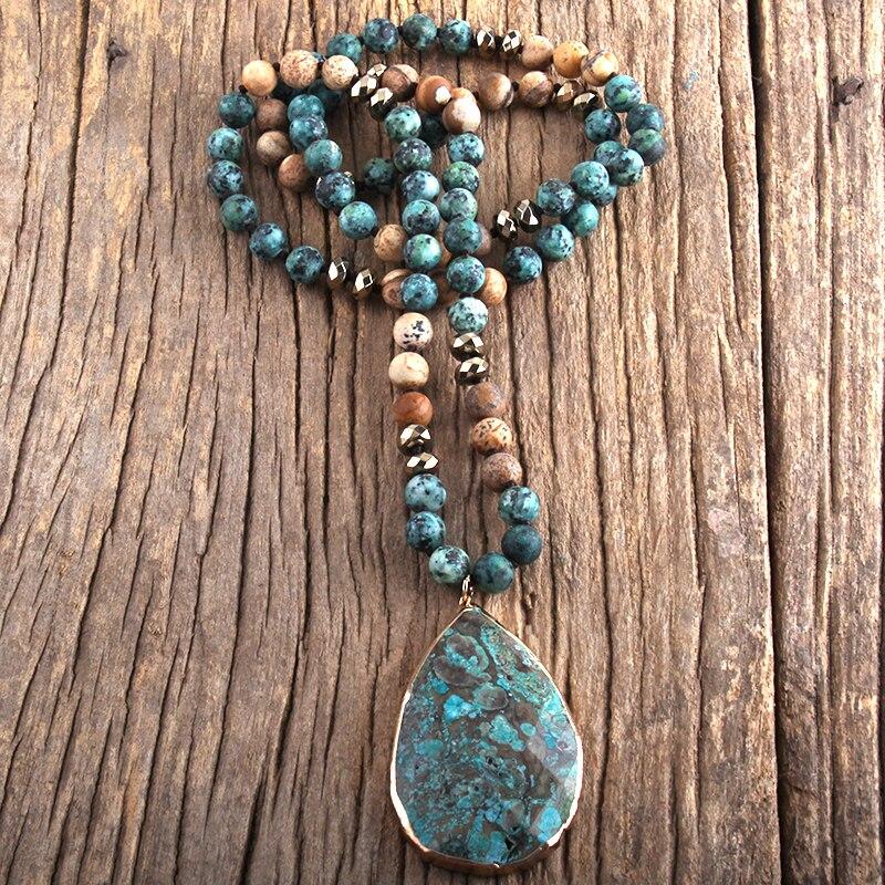 RH Fashion Boho Jewelry Natural Stones With Semi Precious Pendant Necklaces Women Bohemia Necklace Gift Dropship-3
