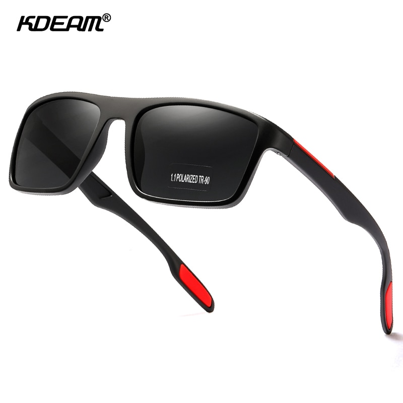 KDEAM Rectangular Ultra Light TR90 Sunglasses Men Polarized TAC 1.1mm Thickness Lens Driving Sun Glasses Women Sports Cat.3-1