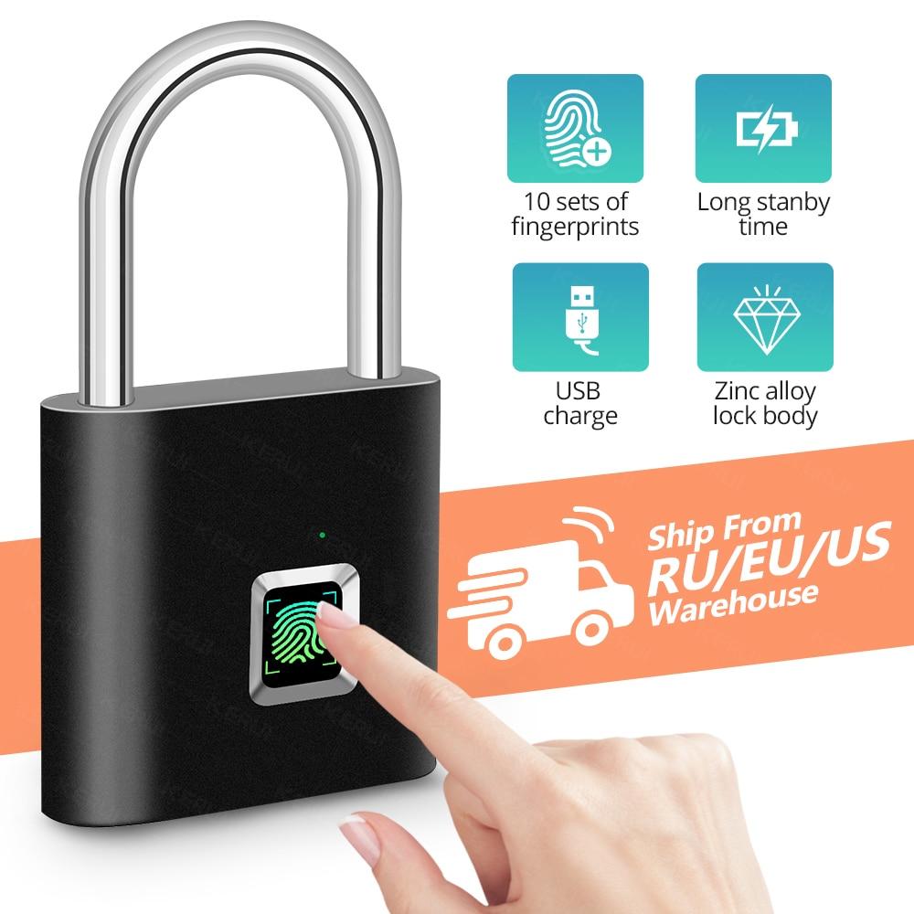 photo of KERUI Waterproof USB Charging Fingerprint Lock Smart Padlock door lock 0.1sec Unlock Portable Anti-theft Fingerprint Lock Zinc