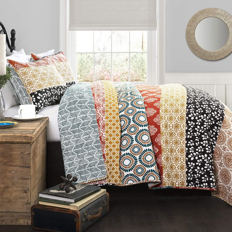 Lush Décor Bohemian Striped Quilt Reversible 3 Piece Colorf