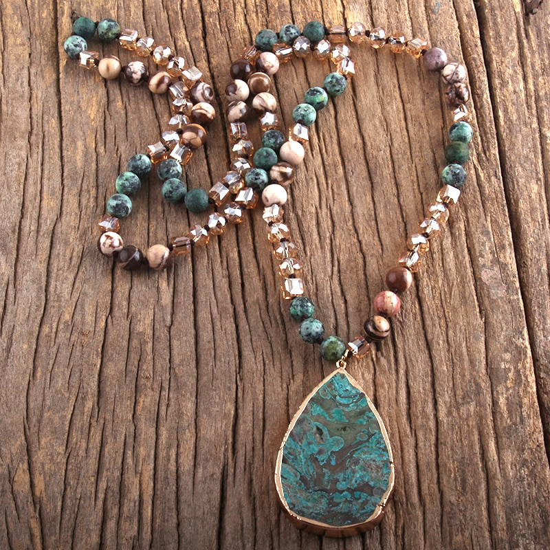 RH Fashion Boho Jewelry Natural Stones With Semi Precious Pendant Necklaces Women Bohemia Necklace Gift Dropship-1