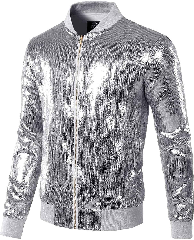 mens sequins nightclub styles zip up varsity